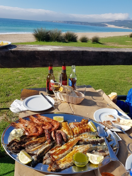 Nothing like an assortment of fresh fish, prawns, squid, mussels, sardines a la plancha to fuel the day at the beach.