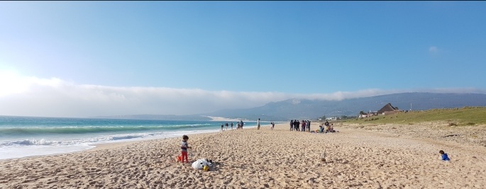 Beach play and sand dunes (in the background) @ Playa de Bolonia