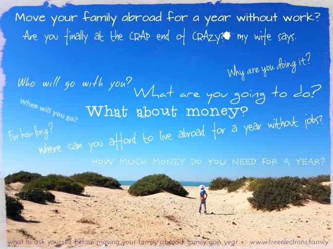 Plan it! Questions such as these and more (later) helped plan a successful move abroad with our family. Photo of the bay of Cadiz with shirtless Karol exploring the wild beach. #freeelectrons.family.