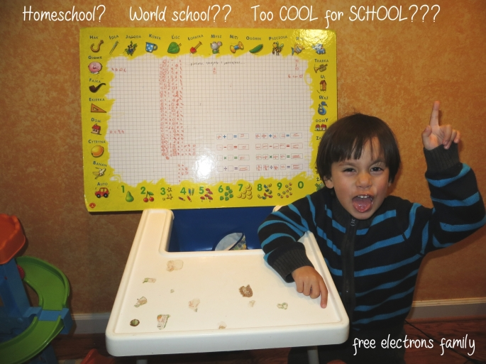 A father's (failed) attempt to homeschool; a dry run for the free electrons family life abroad.  The picture shows a child with a funny face who seems to be rebelling against this lesson.