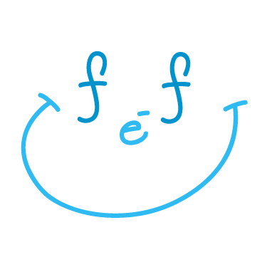 The free electrons family logo, showing the acronym in small letters (fef) and a wide smile--both depicts a smiling face.