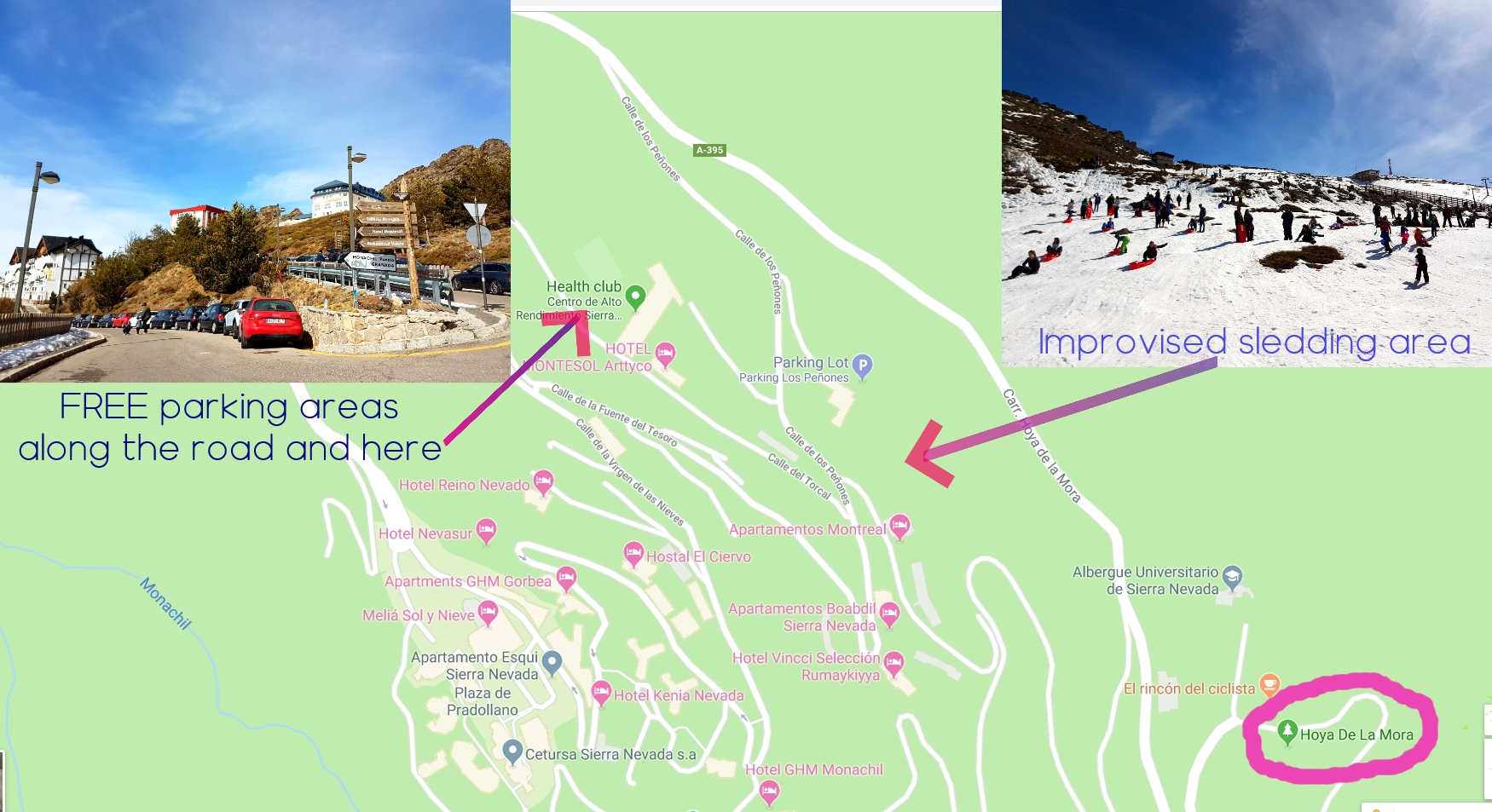 """A Google map that has two photo inserts showing where to find free parking and improvised sledding area if you can not make it to Hoya de la Mora.  This map also shows the main resort village of """"Pradollano"""".  www.freeelectrons.family"""