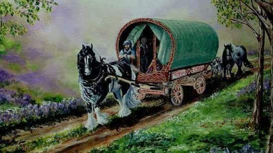 A painting of a nomadic, roaming family in a caravan with two horses on a country road to highlight a year (perhaps years) off work.