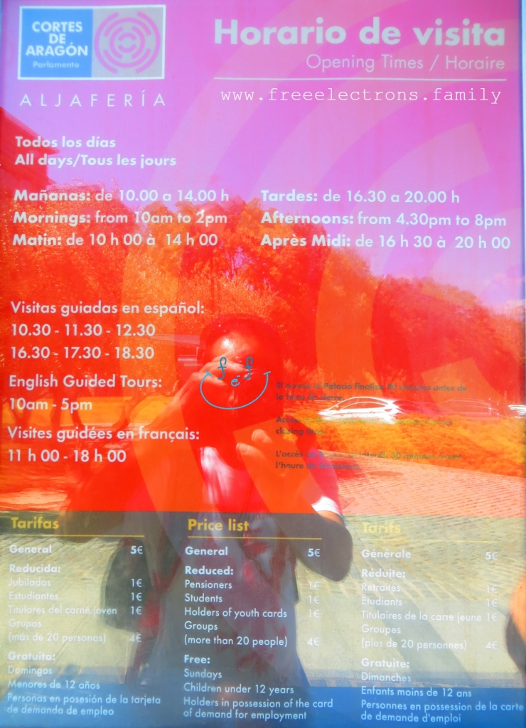 For information: Aljaferia schedule/opening hours and prices. Horarios de visita y precios. Third stop on our #FreeElectrons.Family summer camping road trip Europe, Day 5 in Zaragoza.