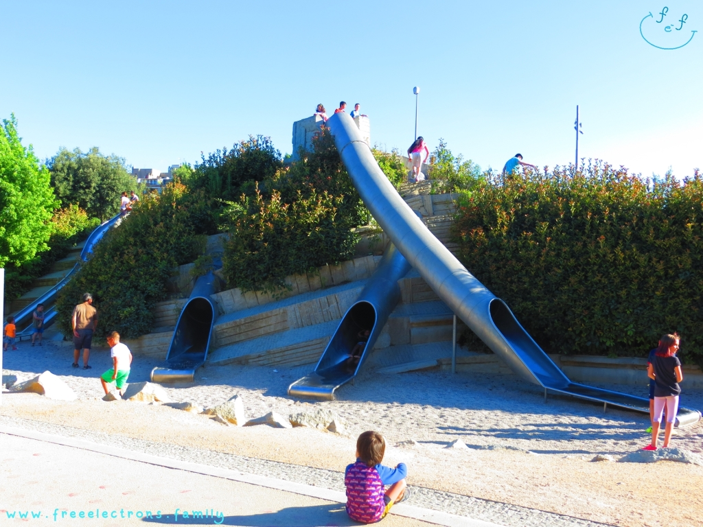 #FreeElectrons.Family - camping road trip Europe, Madrid Rio. An interesting set of slides in a playground at Madre Rio to add more awesome activities for your children.