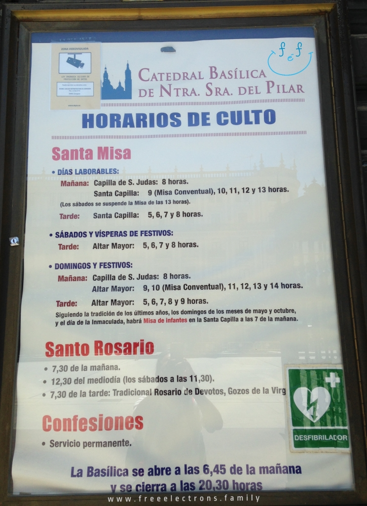 For information: Cathedral Basilica of Our Lady of the Pillar schedule of mass and religious services. Catedral Basilica de Nuestra Senora del Pilar horarios de culto. Third stop on our #FreeElectrons.Family summer camping road trip Europe, Day 5 in Zaragoza.