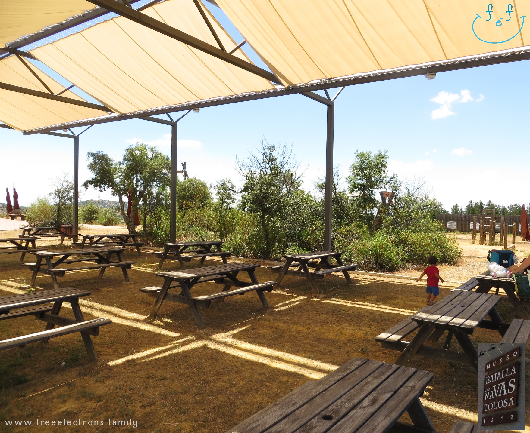 A #FreeElectrons.Family camping road trip Europe I stop in Santa Elena, Jaen, Spain (Espana).    The shaded picnic area next to the playground at the museum of the Battle of the Las Navas, provides much needed escape from the Andalusian sun.  Rest while your kids play!