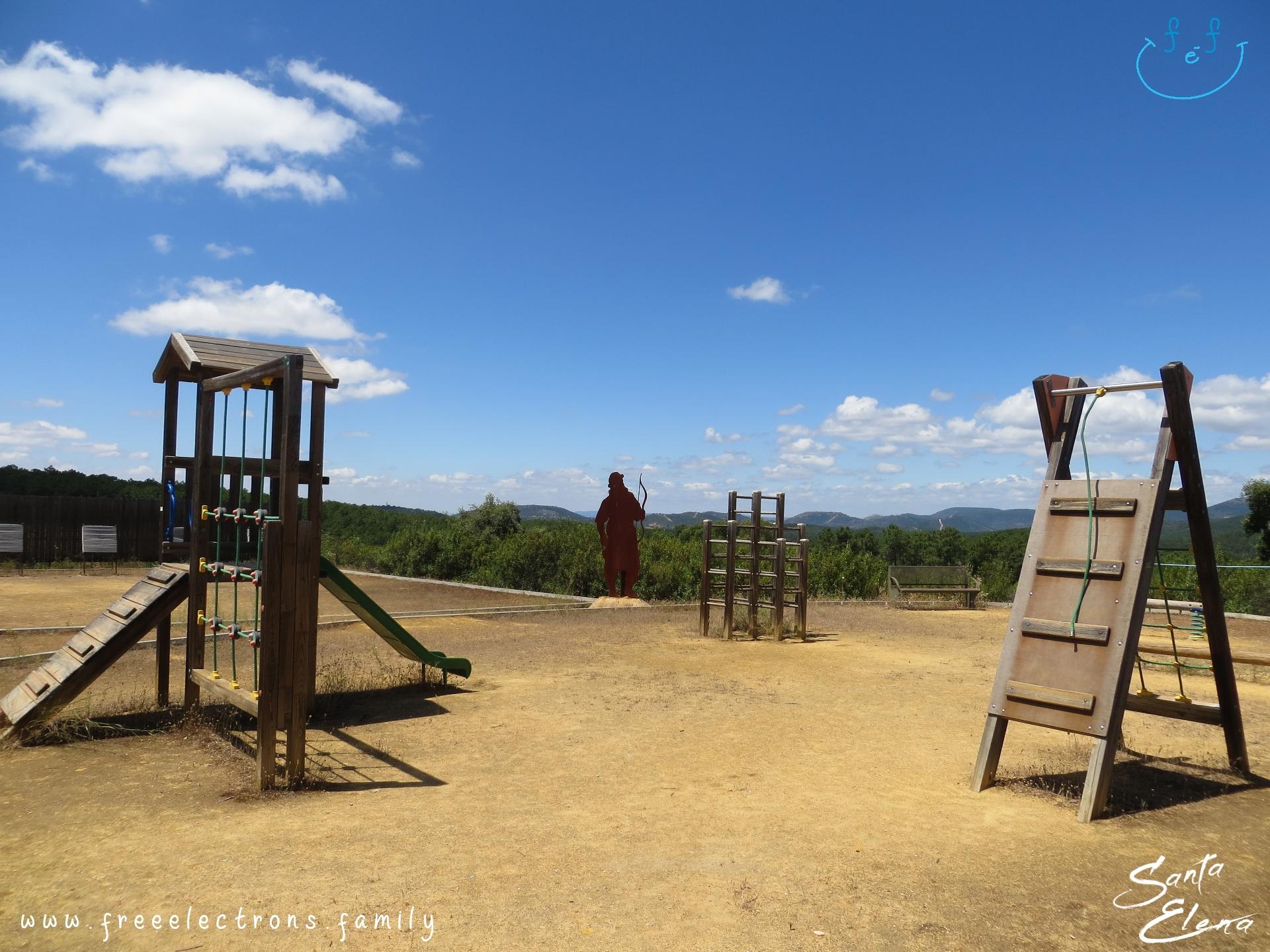 A #FreeElectrons.Family camping road trip Europe I stop in Santa Elena, Jaen, Spain (Espana).    The excellent playground at the museum of the Battle of the Las Navas, with archery and zipline and other wooden structures, lets children have outdoor free play after a visit.
