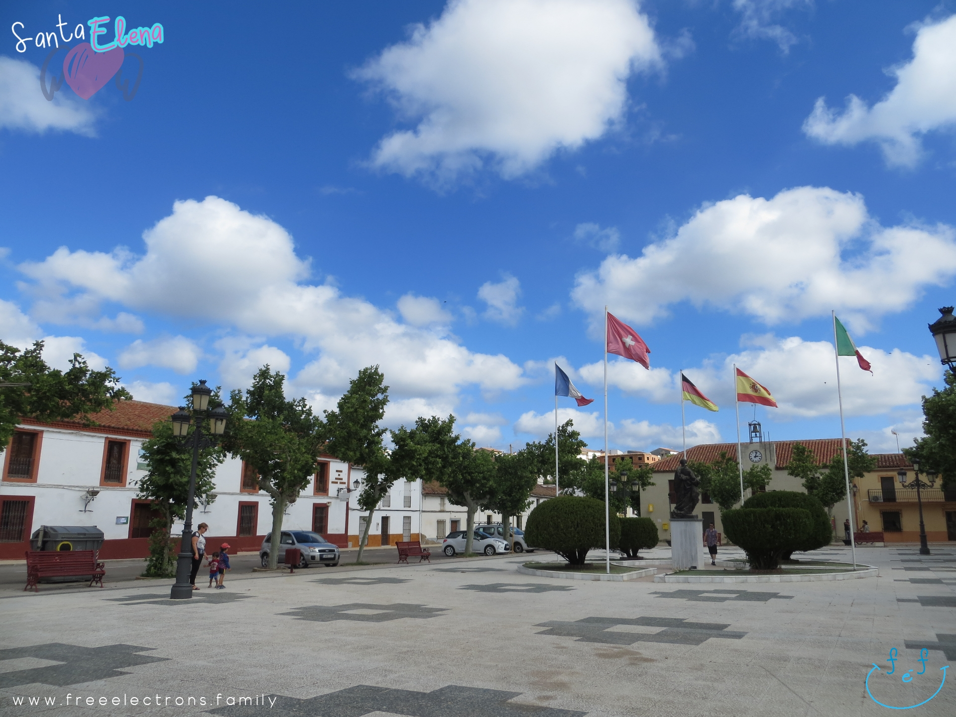 A #FreeElectrons.Family camping road trip Europe I stop in Santa Elena, Jaen, Spain.  Take a peaceful stroll in the main square with the Church of the Empress Santa Elena and a statue of King Carlos III.