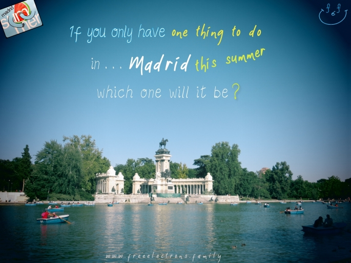 #FreeElectrons.Family - camping road trip Europe, Spain Madrid, Parque El Retiro. If you only have one thing to do in ... Madrid this summer, which one will it be?