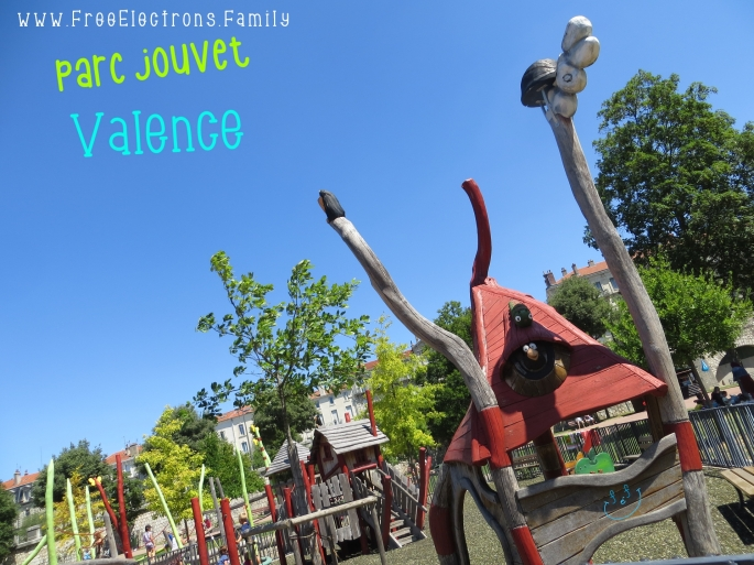 A quirky playground at Parc Jouvet.  #FreeElectrons.Family - camping road trip Europe, Valence.