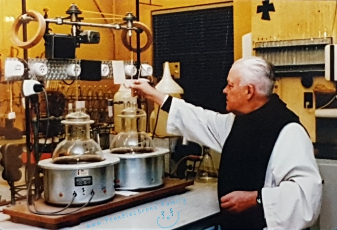 """Pere Theodore, the beer-brewing monk who worked for two years to make what his superior simply called a """"good beer"""", in his laboratory.  www.FreeElectrons.Family"""