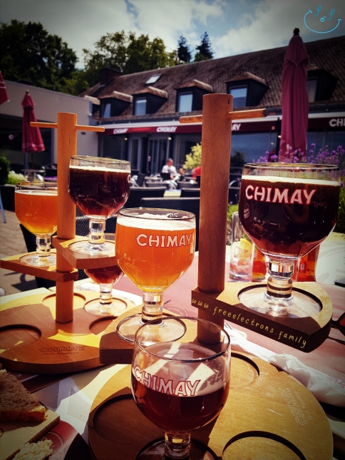 Picture of Chimay beer tasting.  Caption reads:  1st beer: She may go out with you.  2nd beer: She may even give you a kiss.  3rd beer: She may. . . May your dreams come true. . . tonight!  Chimay beer quadruple tasting.  www.FreeElectrons.Family