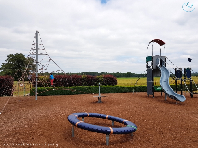 Playground at the family-friendly Inn/Auberge de Poteaupre Espace Chimay.  www.FreeElectrons.Family - camping road trip Europe 2.