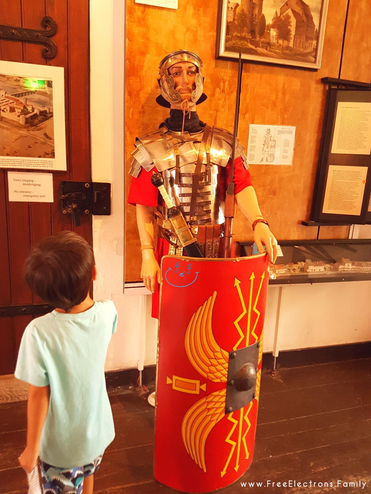 A life-size model of a Roman soldier in full regalia at the FREE museum of Helpoort (the Gate of Hell).   #FreeElectrons.Family - camping road trip Europe Maastricht