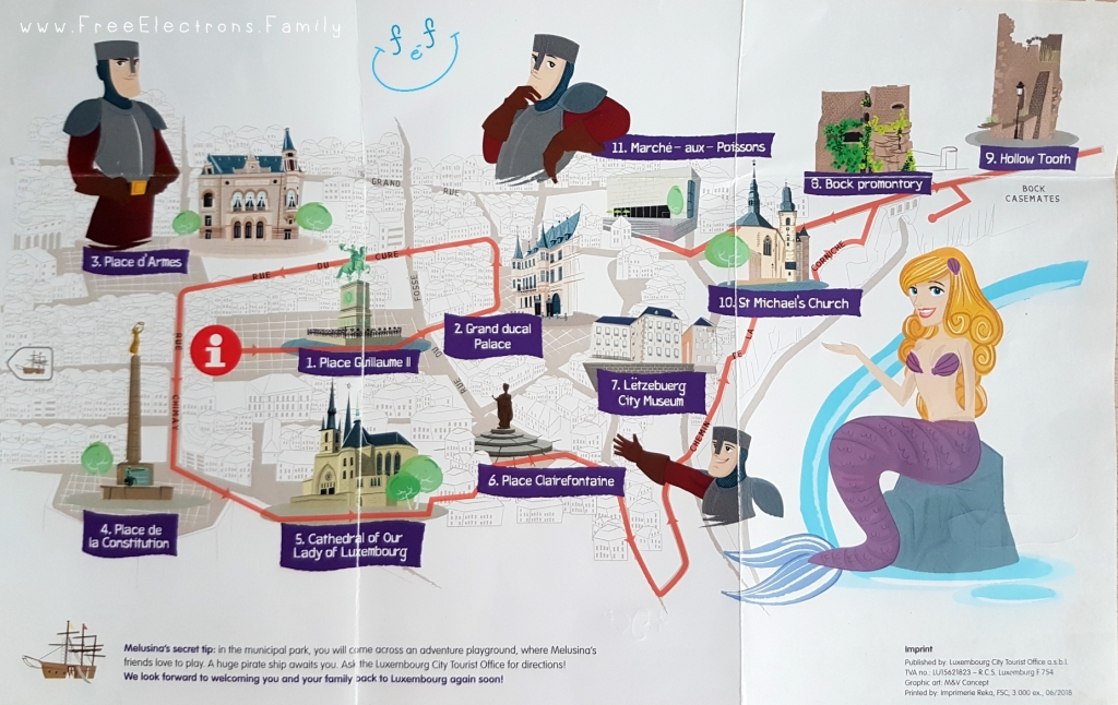 "A picture of the self-guided tour of the city called ""City Promenade Fir Kanner"" (or City Promenade for Kids) with caricatures of a count, a mermaid and the prominent tourist attractions of the city.  Text on picture also reads:  www.FreeElectrons.Family with an inserted smiley face (custom icon) at a top corner."