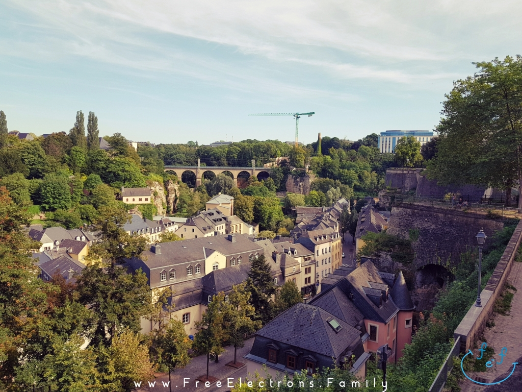 "View of houses among trees along the Alzette river from the Corniche road of ""Europe's most beautiful balcony"", under blue-grayish sky with an inserted smiley face (custom icon) at the bottom corner.   Text on picture reads: www.FreeElectrons.Family"
