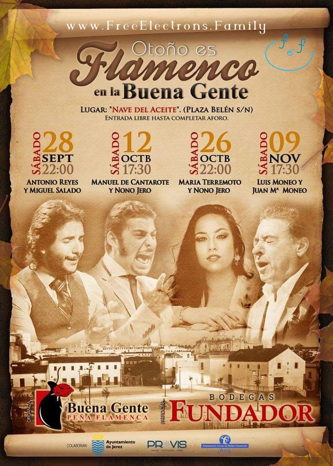 Schedule of Flamenco shows at Peña Buena Gente in September, October and November.
