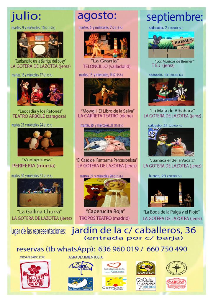 Schedule of Títeres en verano - Summer Puppet Shows in Jerez de la Frontera, Spain.  Weekly puppet show schedule from various performers from all over Spain with pictures and points of contacts.  www.FreeElectrons.Family