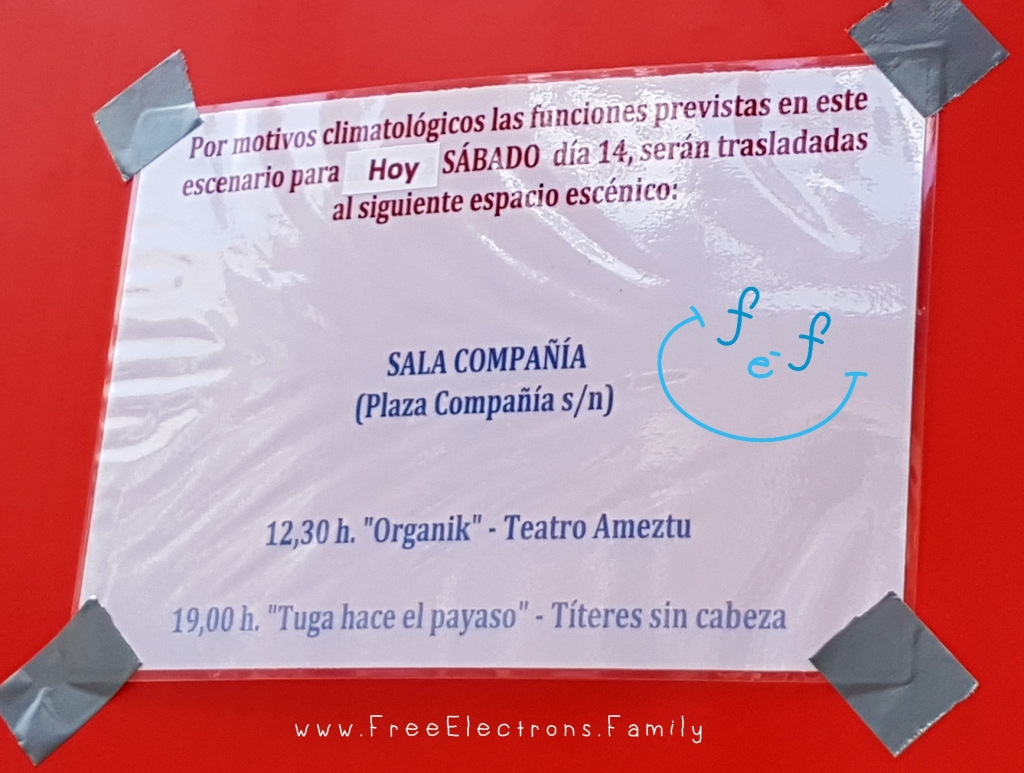 Sign (in Spanish) indicating that a show has moved due to rain.  Caption reads:  If it rains outdoor puppet shows would usually stay on schedule but move indoors.  Signs would be posted on the stage to tell you the new location.   ... for the International Puppet Festival (Festival Internacional de Títeres).  www.FreeElectrons.Family - what to do see in Jerez in September.