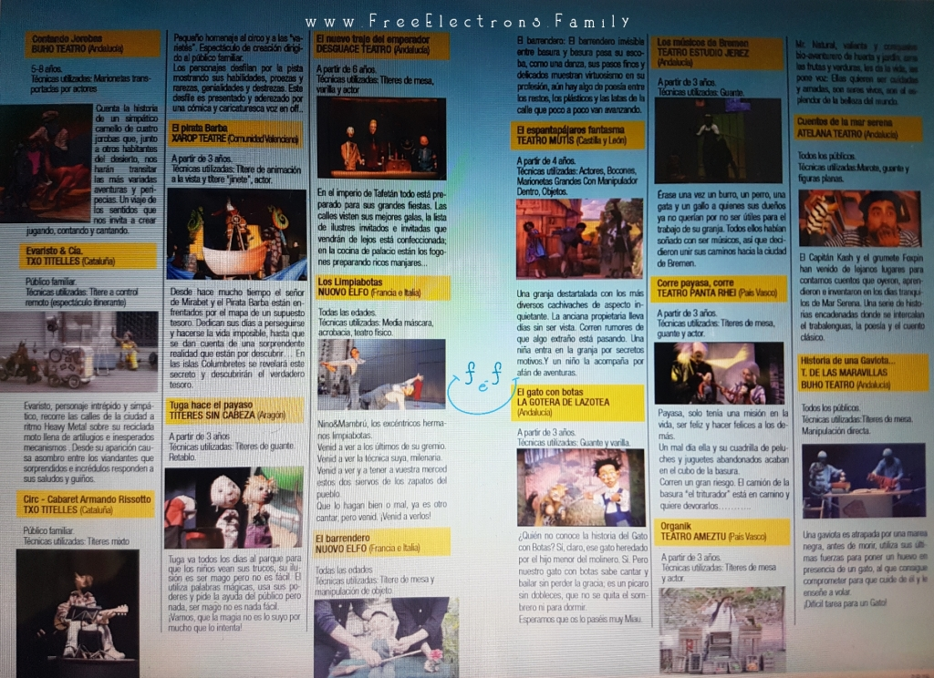 In Spanish: programme of puppeteers. . . for the 23rd International Puppet Festival (Festival Internacional de Títeres), Jerez de la Frontera.  www.FreeElectrons.Family - what to do see in Jerez in September.