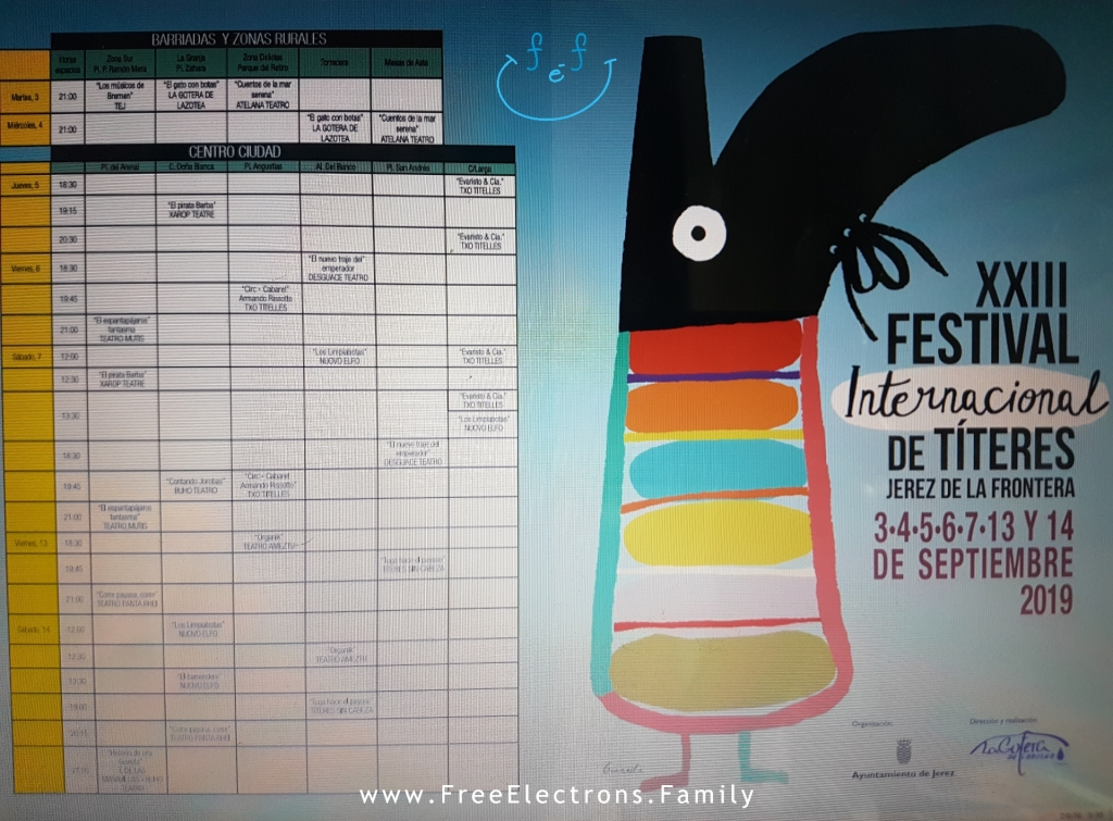 Schedule for the 23r International Puppet Festival (Festival Internacional de Títeres), Jerez de la Frontera.  www.FreeElectrons.Family - what to do see in Jerez in September.