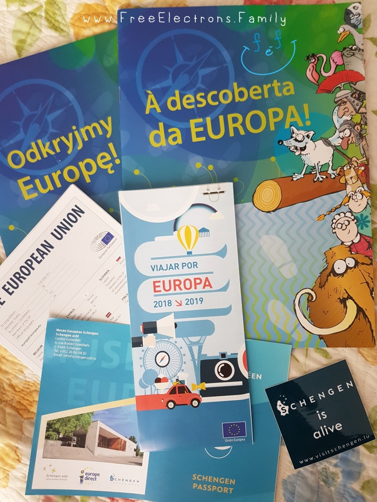 Various informational brochures about Europe and the EU; one appears to be catered to children.  www.FreeElectrons.Family