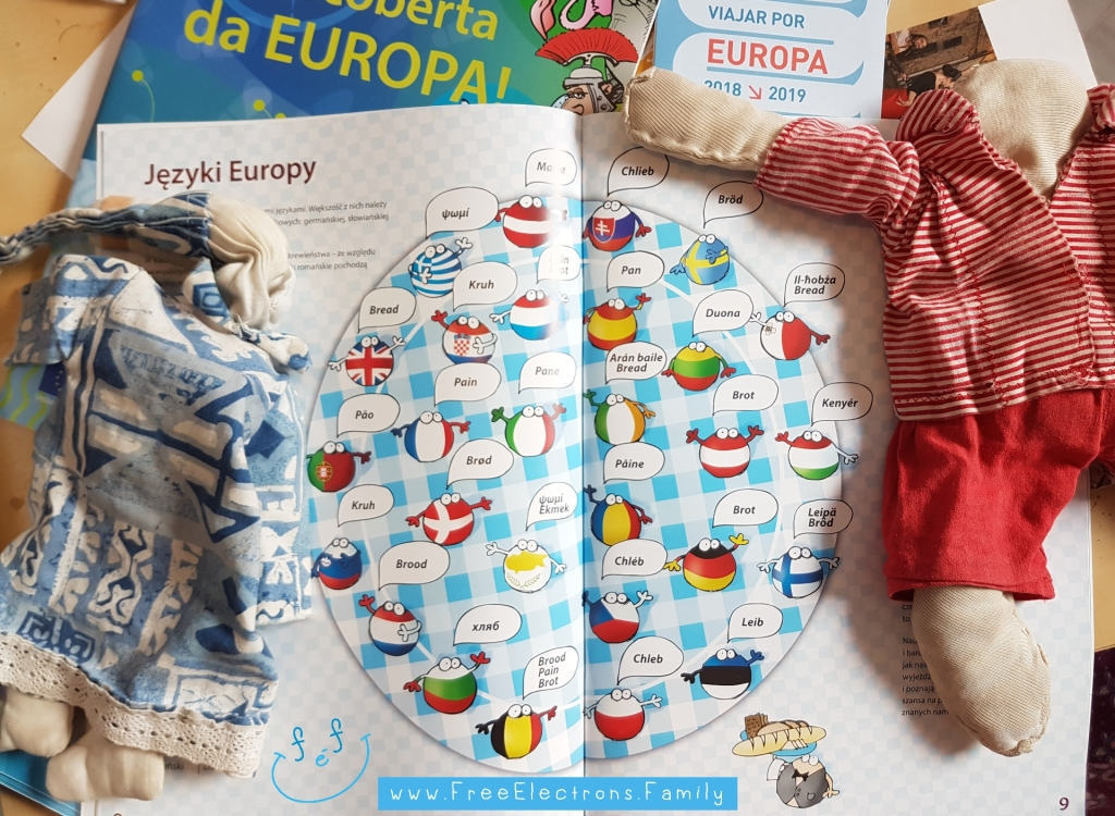 "A photo of a book turned to the pages with caricatures showing how to say ""bread"" in all the 26 countries of the EU.  Children's dolls posed on the sides.  www.FreeElectrons.Family."