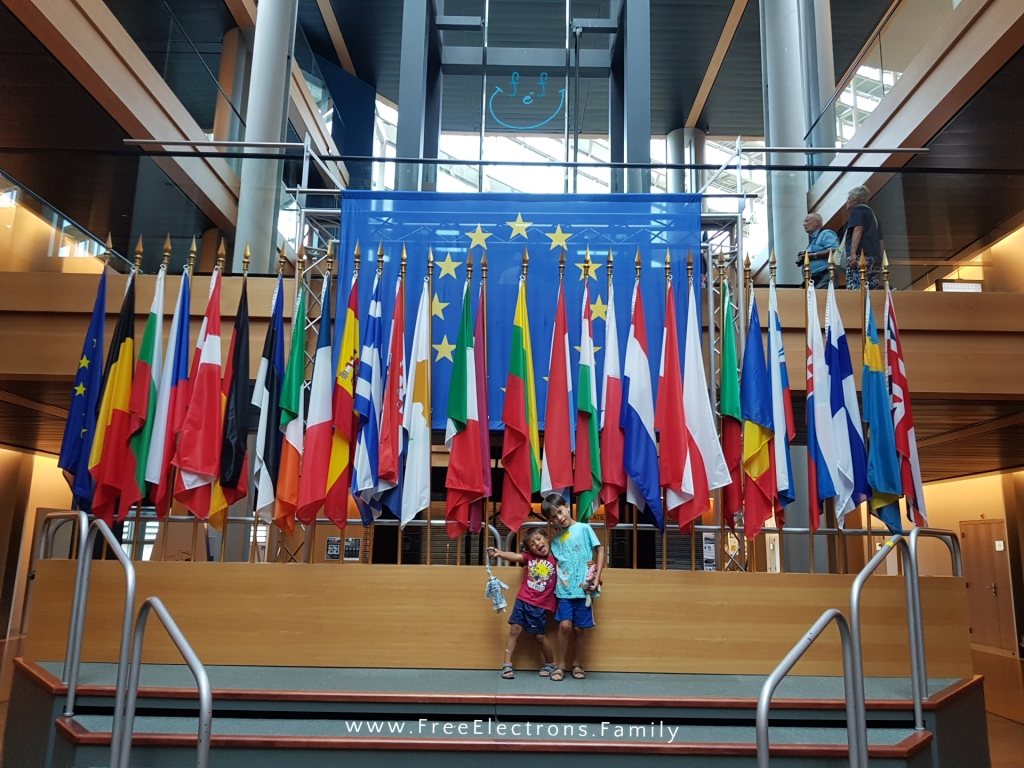 Two young children pose on stage with all the flags of the European Union in the background.  Text on photo reads www.FreeElectrons.Family