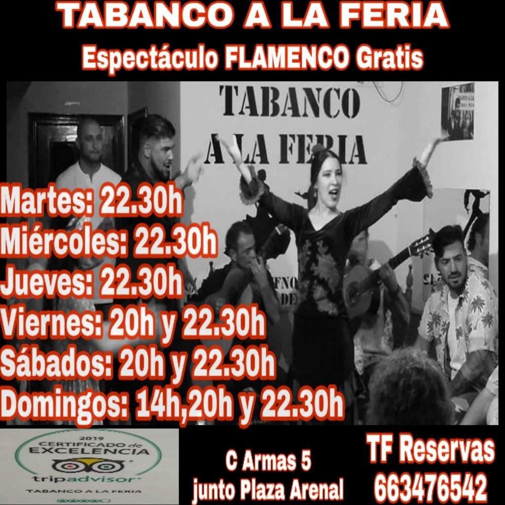 Daily Schedule of FREE Flamenco Puro at Tabanco A La Feria, Jerez de la Frontera, Cadiz.