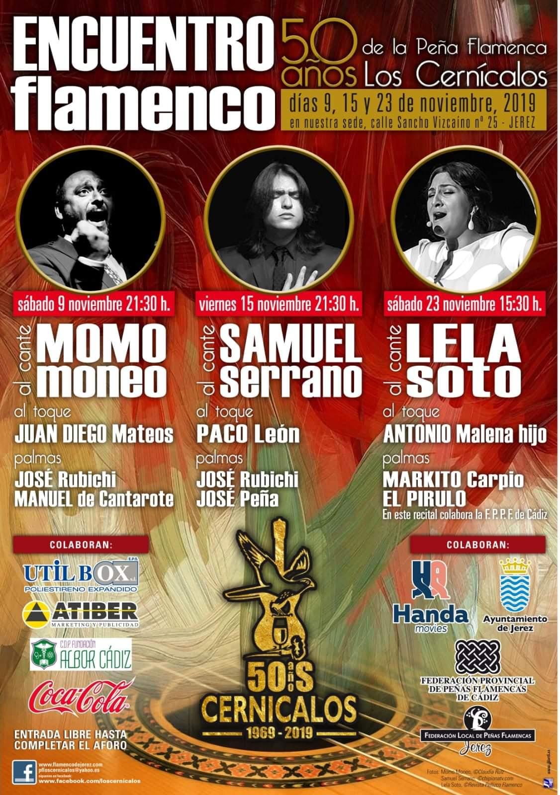Schedule of Flamenco shows at Peña Los Cernicalos in November.