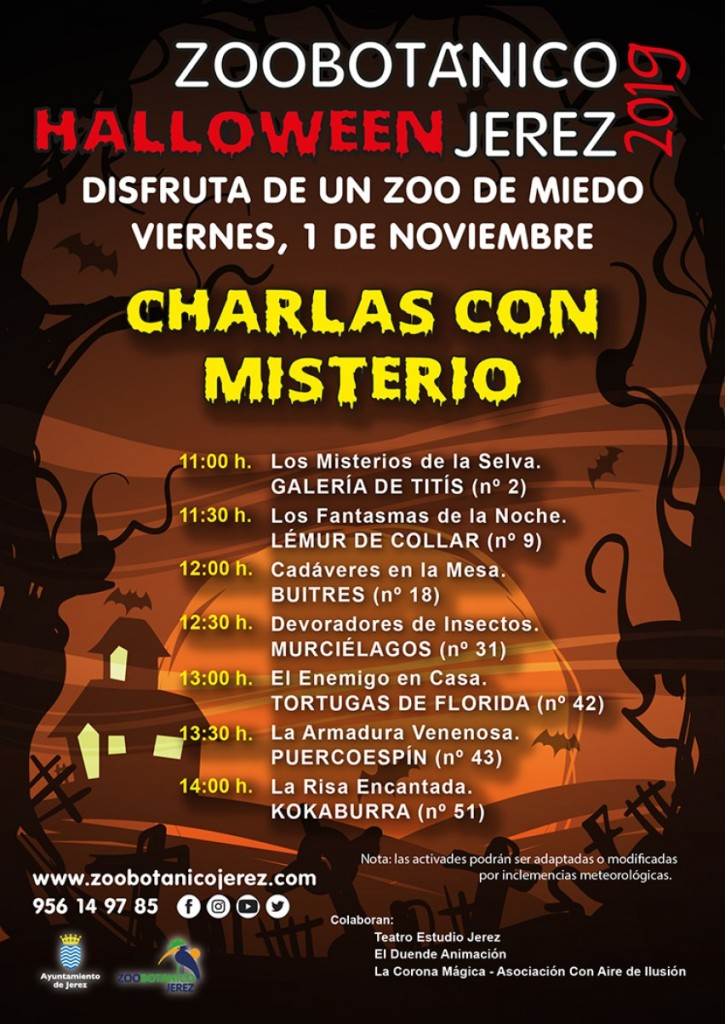 Poster of Happy Halloween schedule of Mystery Talks at the  ZOOBotanico Jerez.  www.FreeElectrons.Family