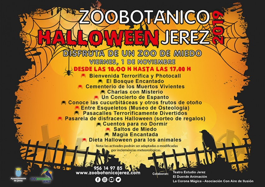 Poster of Happy Halloween schedule!:  ZOOBotanico Jerez.  www.FreeElectrons.Family