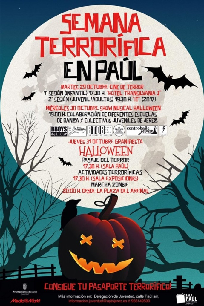 "Poster of Happy Halloween schedule!:  Semana Terrorifica"" (Terrifying Week) at Sala Paul.    www.FreeElectrons.Family"