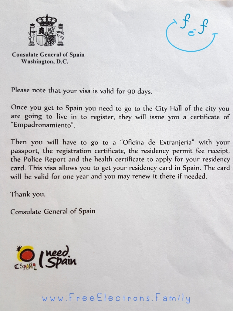 A page noting what you will need to do when you are in Spain in order to register with the city hall and obtain a residency card.  www.FreeElectrons.Family