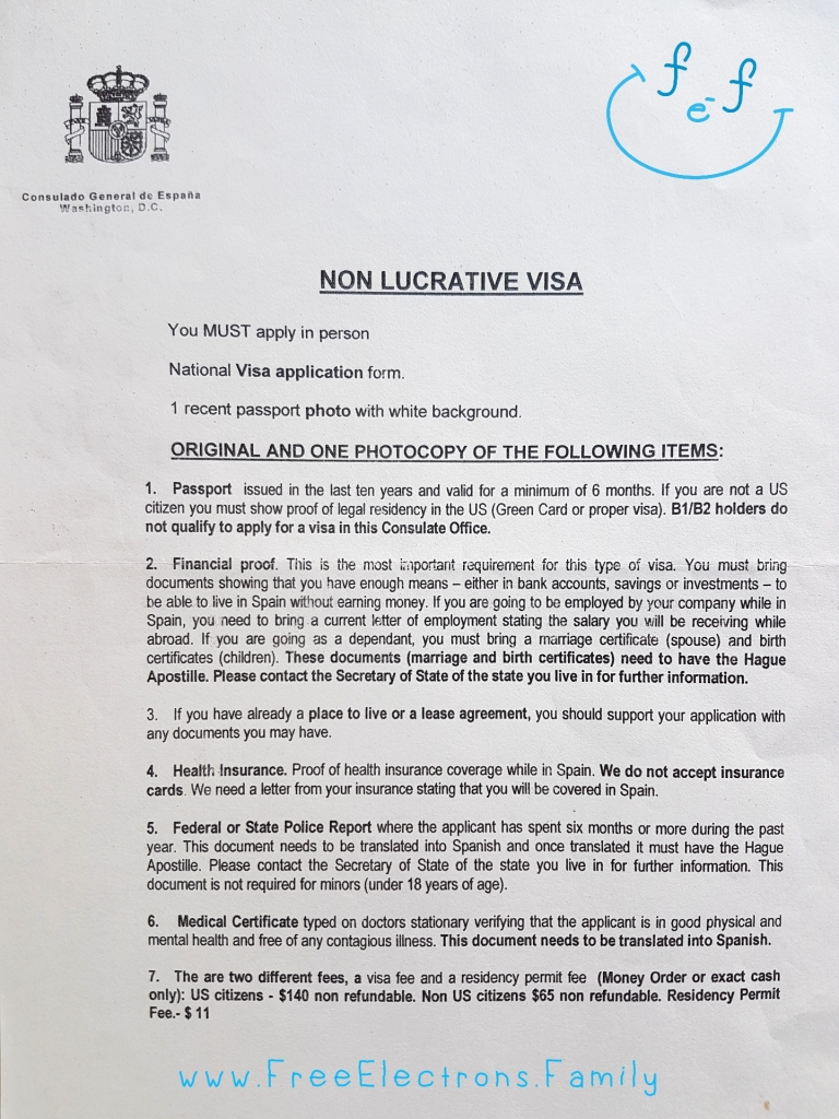 A page listing what you need to provide in order to obtain a non-lucrative visa from the Consulate General of Spain in Washington DC (USA).  www.FreeElectrons.Family