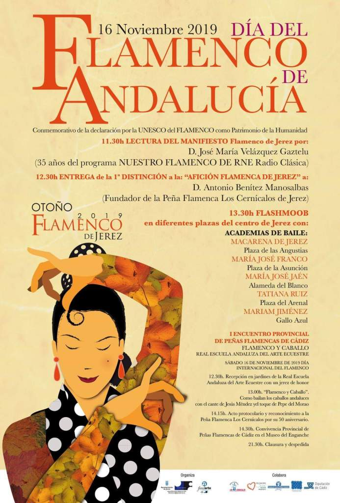 Schedule of Flamenco shows on November 16--the International Day of Flemenco of Andalucia--in Jerez de la Frontera, Cadiz.