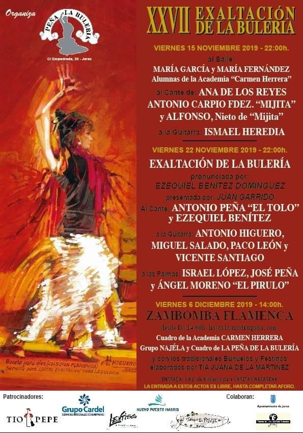 Schedule of Flamenco show at Pena La Buleria in November 2019.