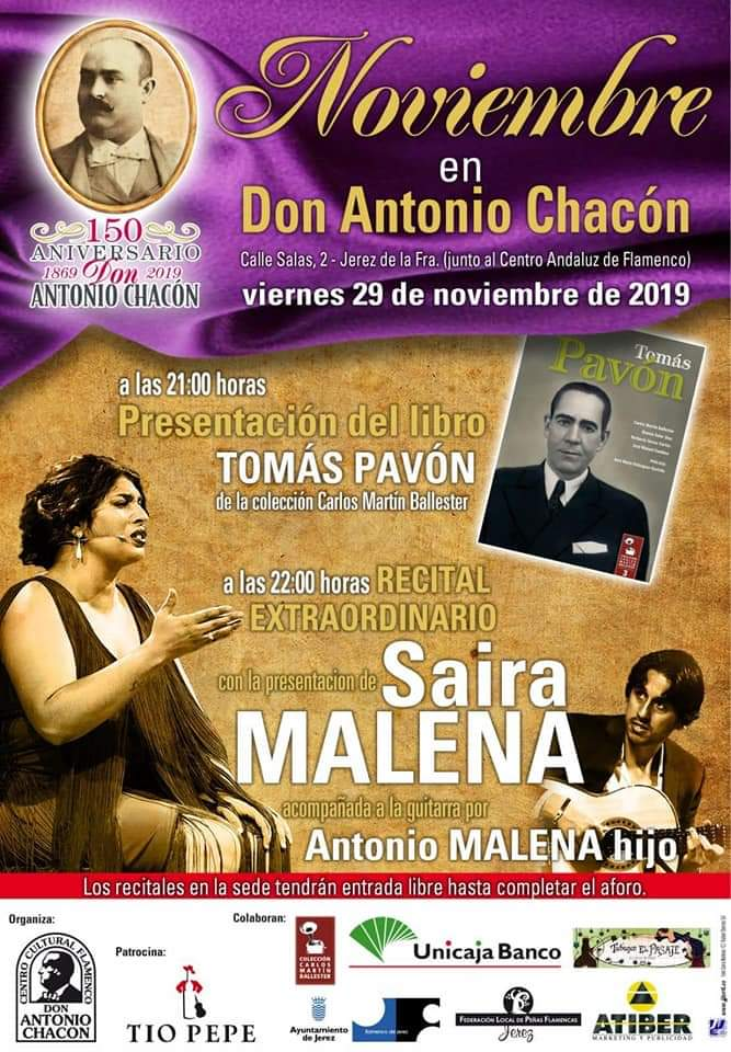 Schedule of Flamenco show at Peña Buena Gente in November.