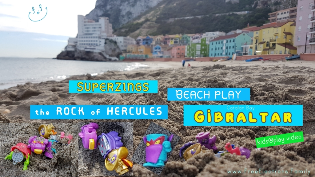 SuperZings Kids Free Play at the Beach on the Rock of Hercules, Gibraltar UK-Family Video