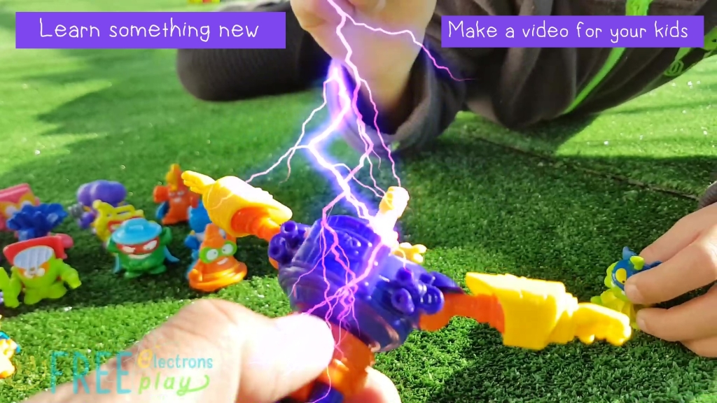 "SuperZings toys with special lightning effects.  Text reads, ""Learn something new. Make a video for your kids.""-Free Electrons Family"