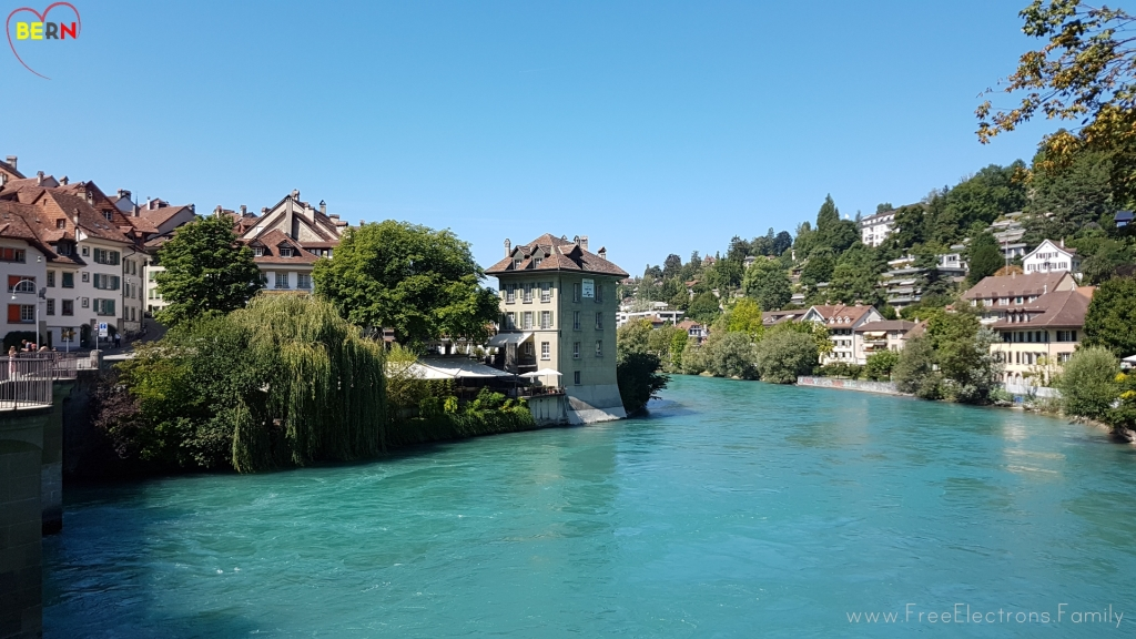 The crystal-clear turquoise waters of the Aare river. www.FreeElectrons.Family