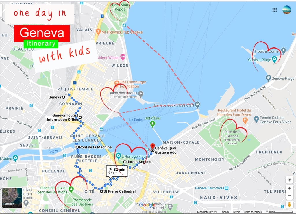 A Google map, marked with one day itinerary/walking (and boat ride) tour.  www.FreeElectrons.Family