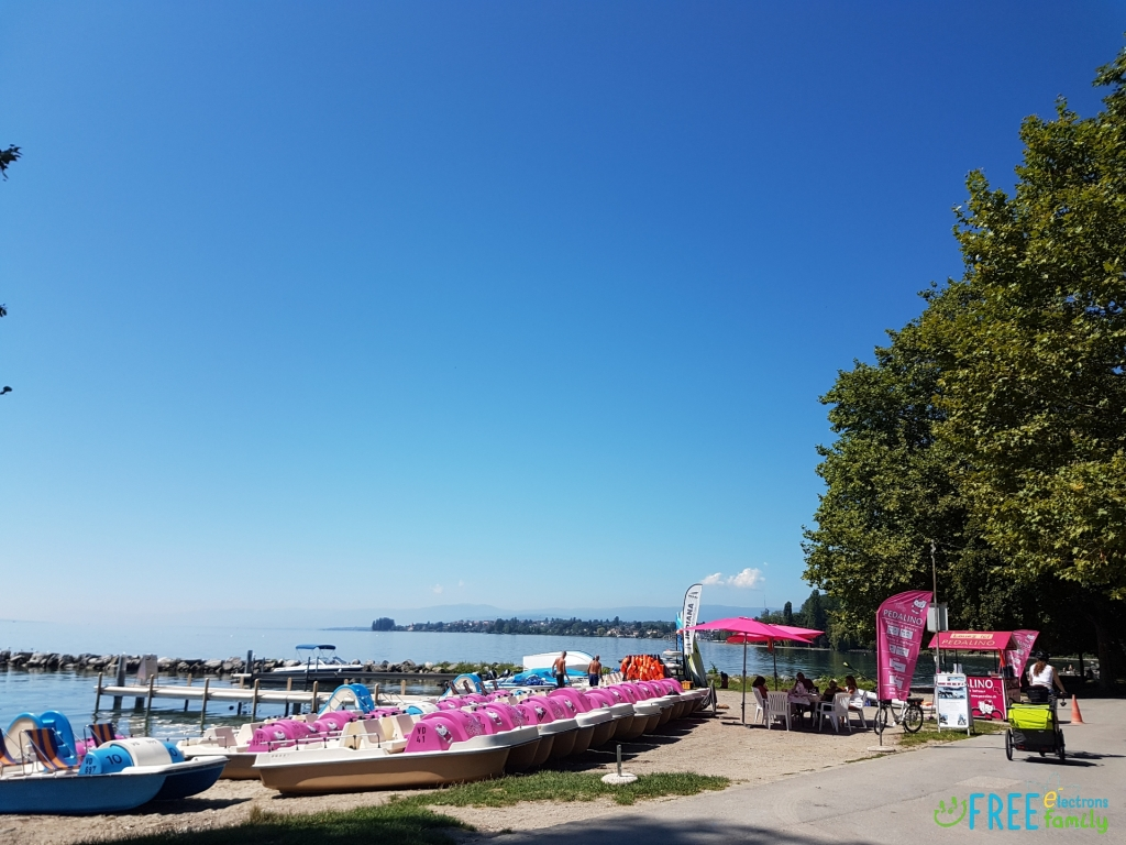 Colorful rental paddleboats at Louis Bourget Park on Lake Geneva, Lausanne, Switzerland.  www.FreeElectrons.Family