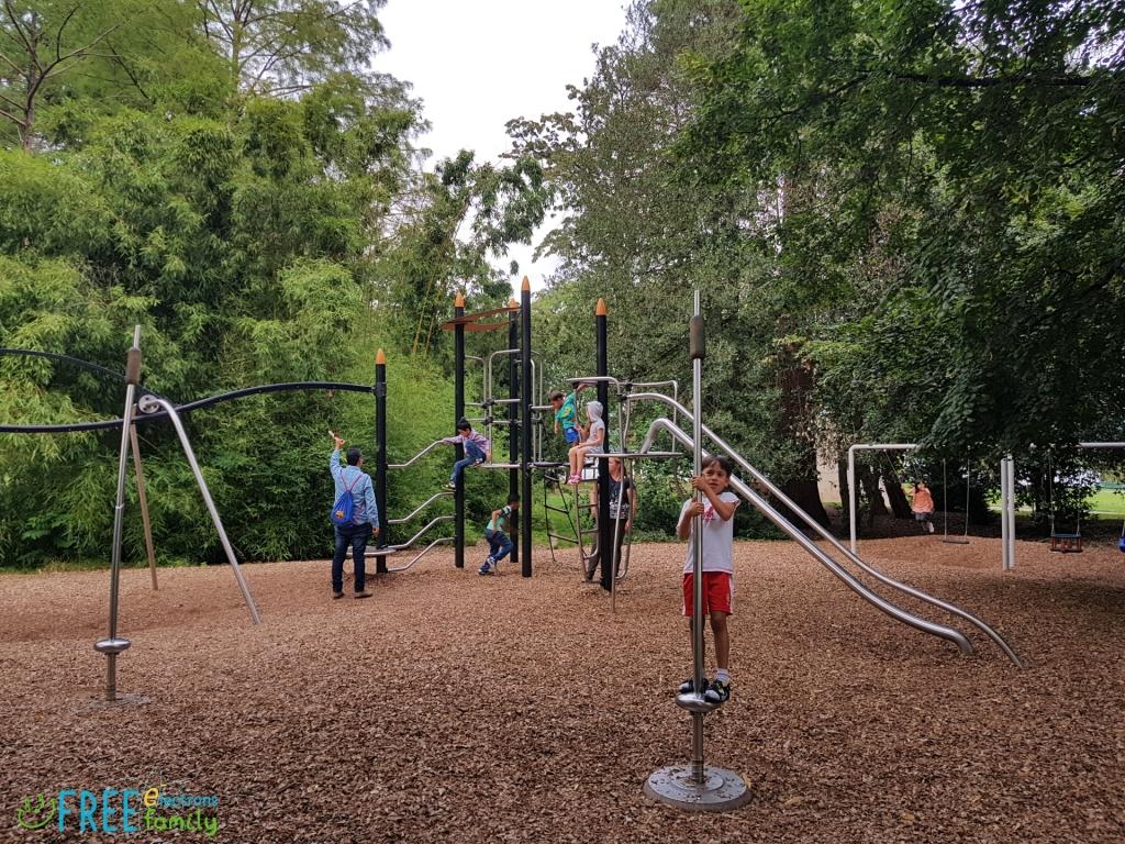 Kids at play in a playground with well-trimmed ground cover from wood cuttings and shade from surrounding trees.  www.FreeElectrons.Family