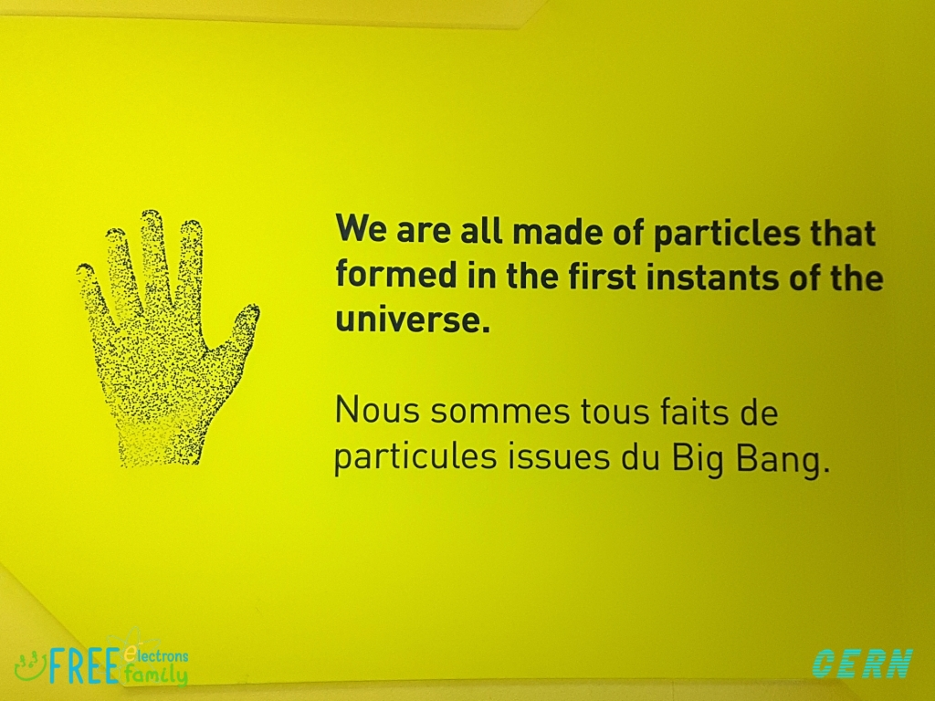 """A drawing of an open hand; text reads (in both English and French) """"We are all made of particles that formed in the first instants of the universe"""".   #FreeElectrons.Family"""