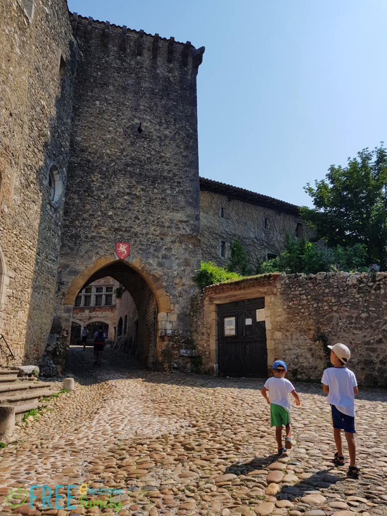 Two young boys, walking on cobblestone street towards a stone archway entrance with a dragon against a red banner crest of a medieval village.  www.FreeElectrons.Family