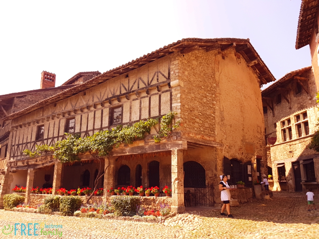 Traditional stonehouse building with decorative wooden beams on the outer wall and hanging green plants and red flowers.  www.FreeElectrons.Family