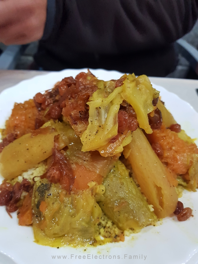 Closeup of a Moroccan vegetable couscous dish.