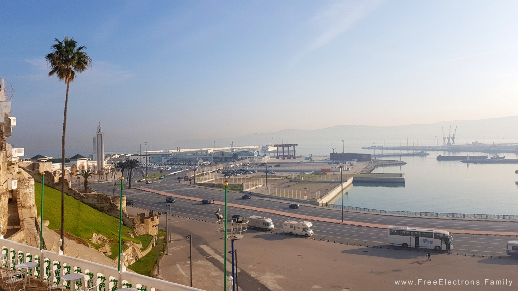 A view overlooking the Port of Tanger with wide open space at the foot of the hill and the wide Avenue of  Muhammed VI .